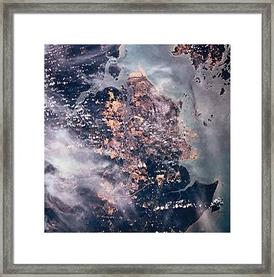 Landscape Of The Earth Viewed From Space Framed Print by Stockbyte