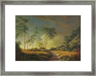 Landscape With Pine Trees  Framed Print