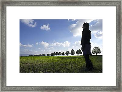 Landscape With Row Of Trees And Person Framed Print by Matthias Hauser