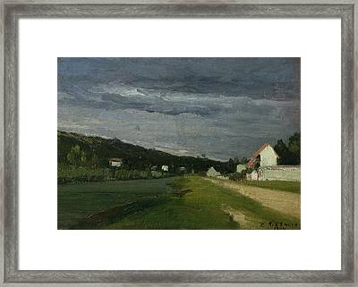 Landscape With Stormy Sky Framed Print by Camille Pissarro