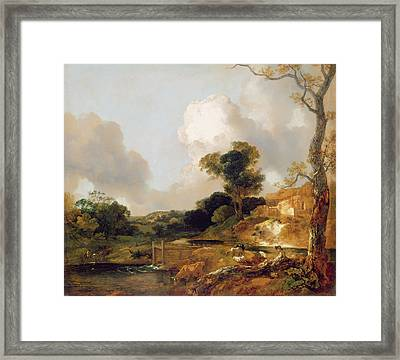 Landscape With Stream And Weir Framed Print by Thomas Gainsborough