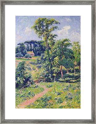Landscape With Trees And A Path Leading To A Cottage  Framed Print by Henry Moret