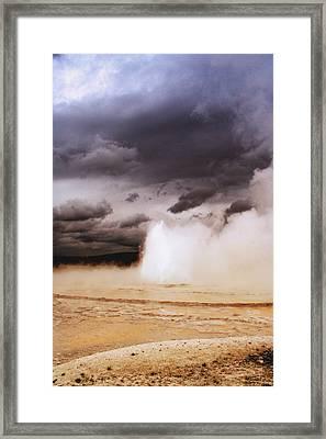 Landscapes Of Yellowstone - Great Fountain Geyser Framed Print by Ellen Heaverlo