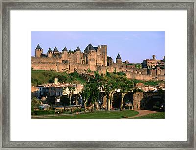 Languedoc Roussillon Carcassonne La Cite, 12th Century Castle, Carcassonne, Languedoc-roussillon, France, Europe Framed Print by John Elk III