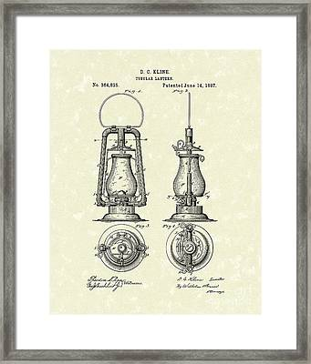 Lantern 1887 Patent Art Framed Print by Prior Art Design