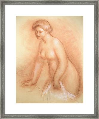 Large Bather Framed Print by Pierre Auguste Renoir