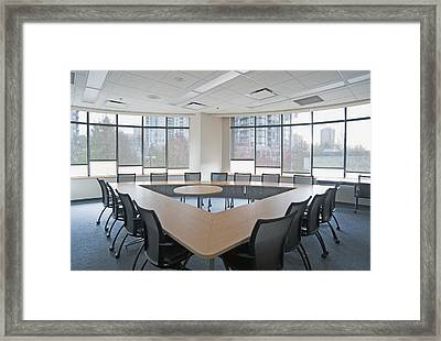 Large Empty Boardroom. A Long Narrow Framed Print by Marlene Ford