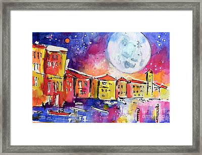 Large Moon Over Venice  Framed Print by Ginette Callaway