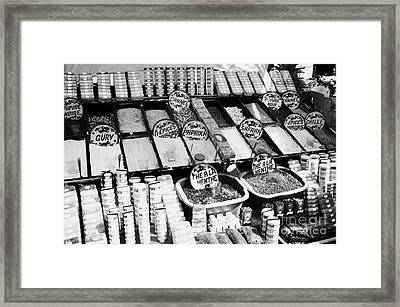 Large Range Of Various Spices Open And Packaged On A Stall At The Market In Nabeul Tunisia Framed Print by Joe Fox