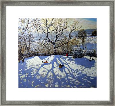 Large Tree And Tobogganers Framed Print by Andrew Macara