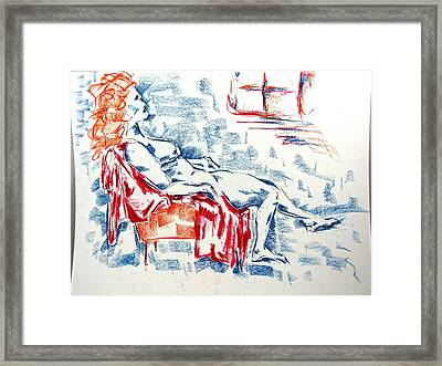 Framed Print featuring the pastel Large Women In A Small Orange Chair by Brian Sereda