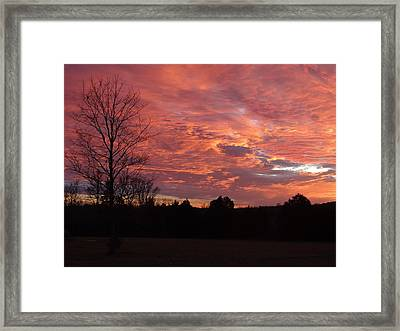 Framed Print featuring the painting Lascassas Sunset Three by Carol Berning