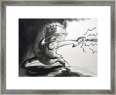 Laser Girl In Space Framed Print by Jaime Torraco