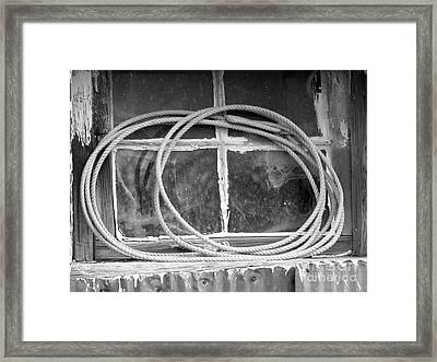 Framed Print featuring the photograph Lasso In The Window  by Deniece Platt