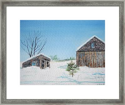 Last Barn In Winter Framed Print by Anthony Ross