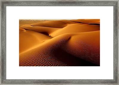 Last Light In The Ubari Sand Sea, Libyan Sahara Framed Print