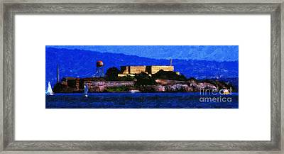 Last Light Over Alcatraz . Panorama Cut Framed Print by Wingsdomain Art and Photography