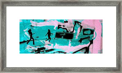 Last Minute - Digital Art Neon Colors Framed Print by Arte Venezia