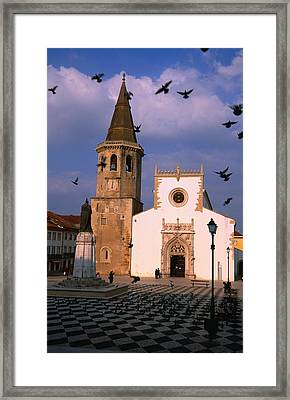 Late 15th Century Igreja De Sao Joao Baptista Facing Praca Da Republica, Tomar, Ribatejo, Portugal, Europe Framed Print