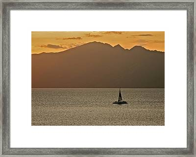 Late Afternoon Cruise In The Paniolo Channel Framed Print