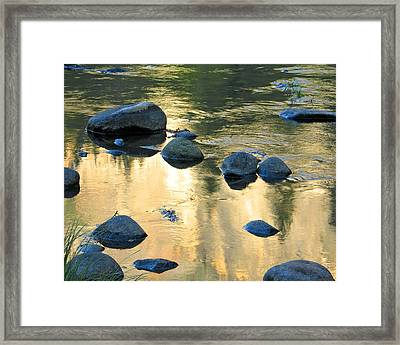 Late Afternoon Reflections In Merced River In Yosemite Valley Framed Print by Greg Matchick