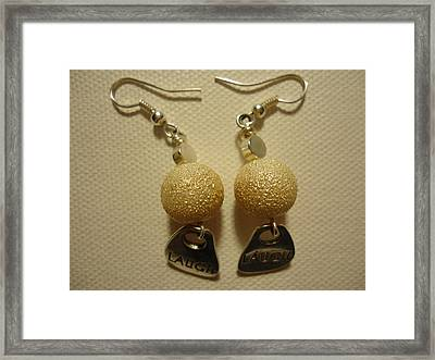 Laugh In Pearl Earrings Framed Print by Jenna Green