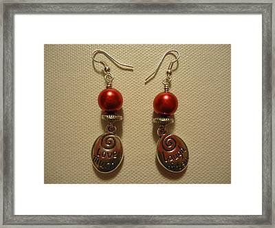 Laugh Often Love Much Red Earrings Framed Print by Jenna Green