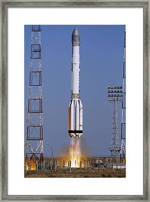 Launch Of Proton-k Rocket Framed Print by Ria Novosti