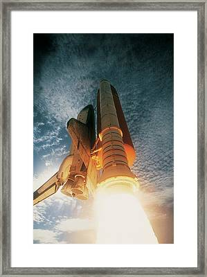 Launching Of The Space Shuttle Framed Print