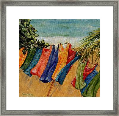 Laundry Day At The Beach Framed Print