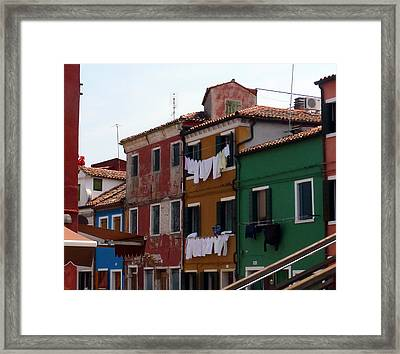 Laundry Day In Burano Framed Print by Carla Parris