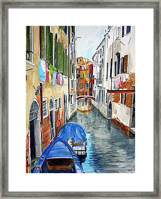 Framed Print featuring the painting Laundry Day In Venice by Tom Riggs