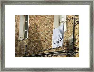 Laundry Hanging From Line, Tuscany, Italy Framed Print by Paul Edmondson