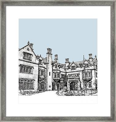 Laurel Hall In Light Blue Framed Print by Building  Art