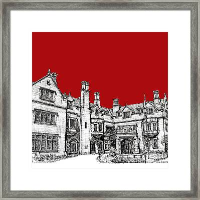 Laurel Hall In Red Framed Print by Building  Art