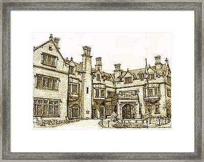Laurel Hall In Sepia Framed Print by Building  Art