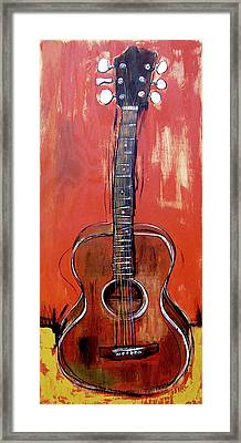 Framed Print featuring the painting Laurelyn's Guitar by John Gibbs