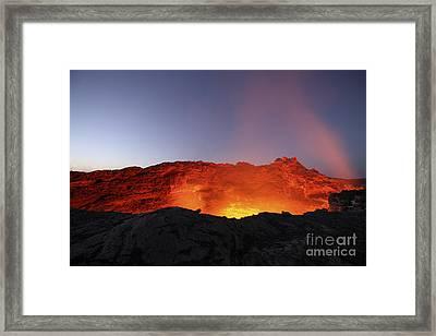 Lava Lake Illuminating Walls Of Pit Framed Print by Richard Roscoe