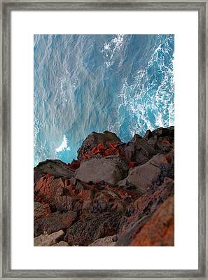 Lava Rocks And Ocean Water Framed Print by Jennifer Bright