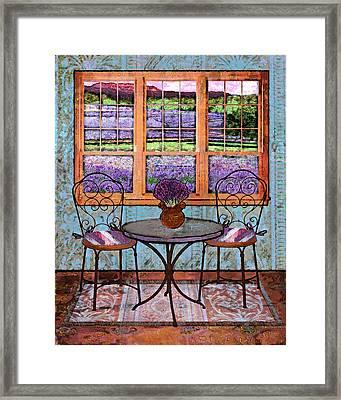 Lavender Bistro Framed Print by Mary Ogle
