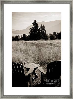 Lawn Chair View Of Field Framed Print by Darcy Michaelchuk