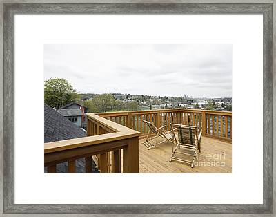 Lawn Chairs On Deck Framed Print by Andersen Ross