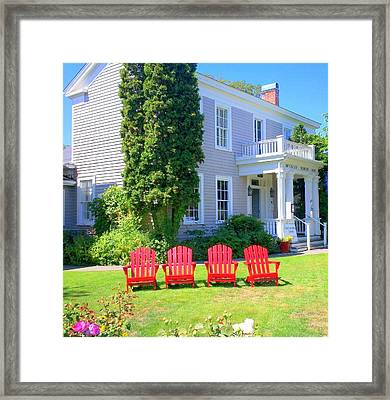 Lawn Chairs Framed Print by Randall Weidner