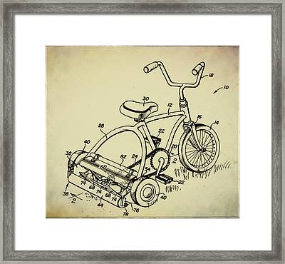 Lawnmower Tricycle Patent Framed Print by Bill Cannon
