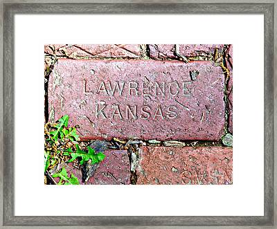 Lawrence Kansas Brick Paver Framed Print
