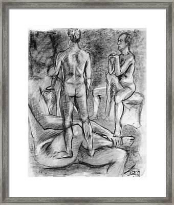 Layered Man Figure Study Framed Print by Adam Long