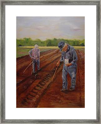 Framed Print featuring the painting Laying Off Rows by Carol Berning
