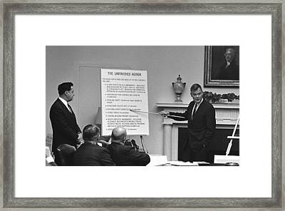 Lbjs Great Society Programs. With Less Framed Print by Everett