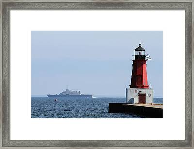 Framed Print featuring the photograph Lcs3 Uss Fort Worth By The Menominee Lighthouse by Mark J Seefeldt