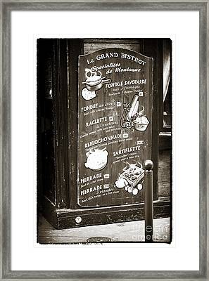 Le Grand Bistrot Menu Framed Print by John Rizzuto